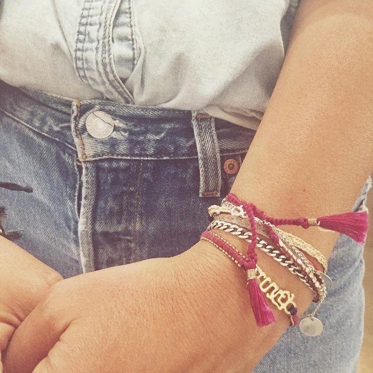 Berry berry beautiful arm parties happening here at  @designersandagents! 🖐🏼👏🏼 #armparty * * * #fashion #fashionista #bracelet #bravebracelet #buddhistflag #limitless #bornbrave #brave #courage #designersandagents #ss17 #bluejean #bluejeanbaby #jewelry #friendshipbracelet #bracelets #giveback #ethicalfashion #girlpower #ladyboss