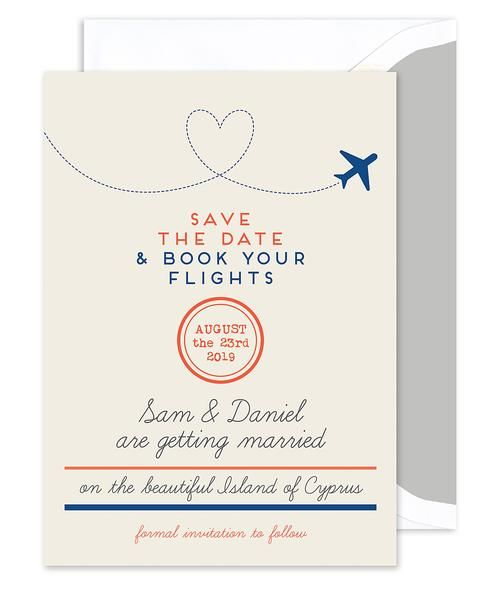 "Announce your destination wedding in style with this save the date card. ""Save the Date & Book your Flights"" is printed in simple typography. Enter your custom details for a personalized announcement."
