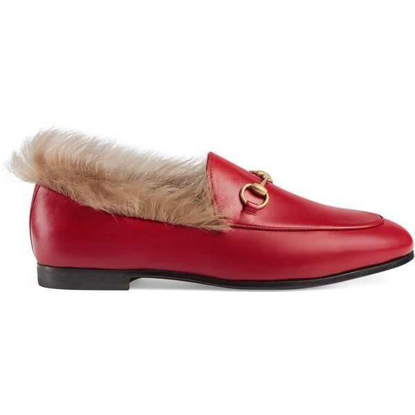 Gucci Jordaan Fur Loafer ($1,100) ❤ liked on Polyvore featuring shoes, loafers, red, fur lined shoes, loafer shoes, fur loafers, horse bit shoes and gucci loafers