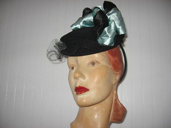 1940's Black Wool Blend Toy Tilt Hat with by BrionyLodgeVintage