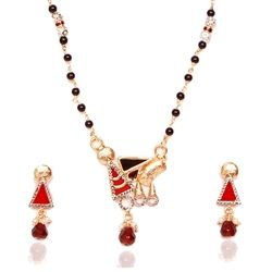 A modern looking mangalsutra with a twist of contemporary look to match with current day requirements. It is embedded with glass stones and is plated with gold. This colorful mangalsutra is designed really well for daily usage.