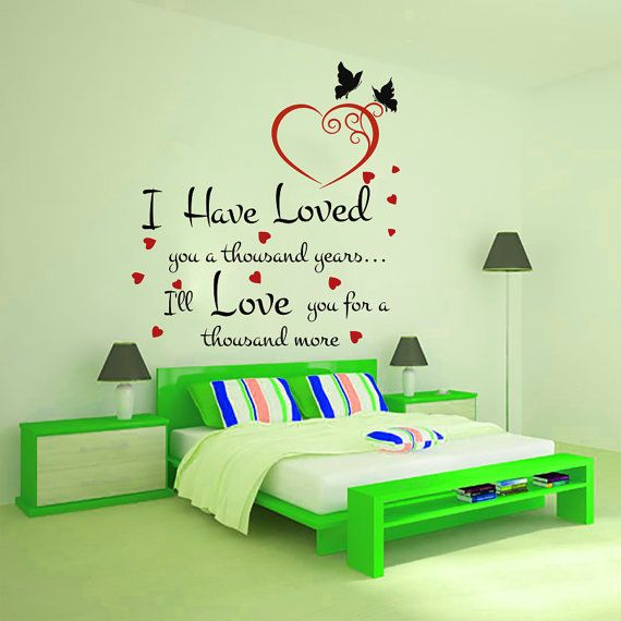 Wall decals quote i have loved you a thousand decal vinyl sticker heart butterfly bedroom home decor wedding salon room art murals