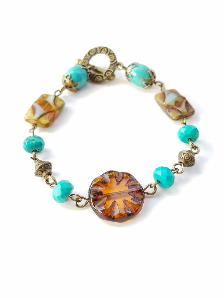 Brown brass turquoise bracelet