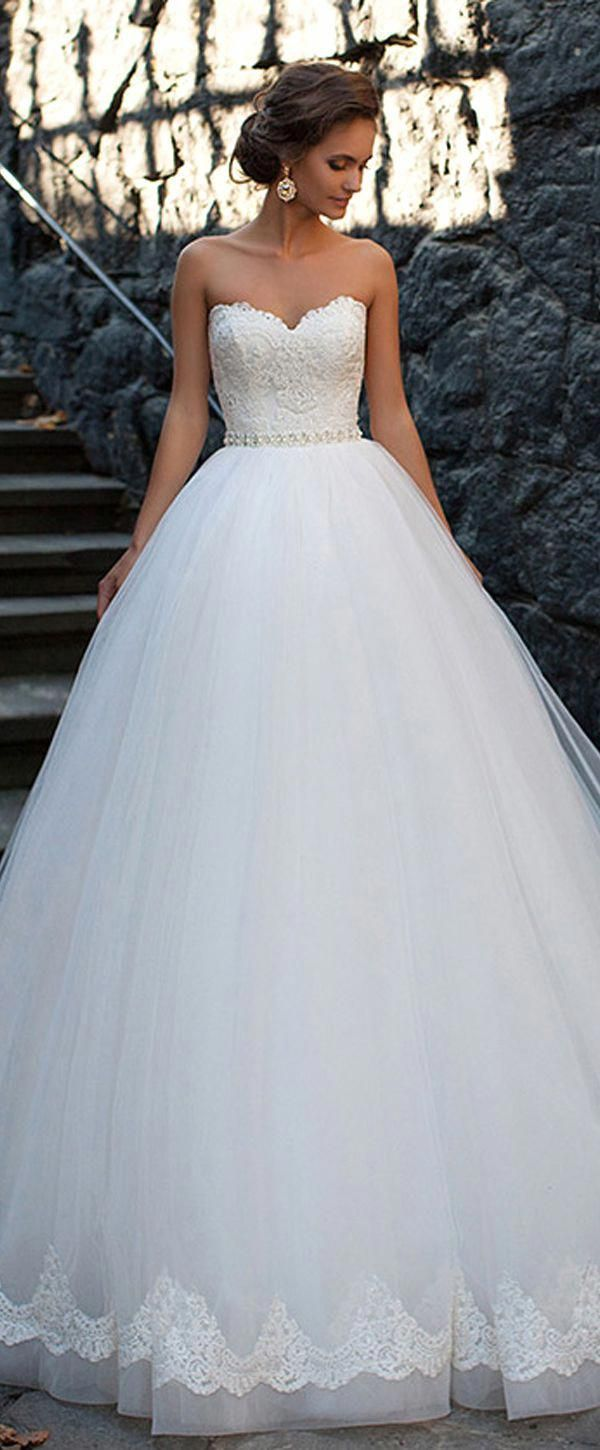 b2829adc7 Amazing Tulle Sweetheart Neckline Ball Gown Wedding Dresses With Lace  Appliques #weddingdresses