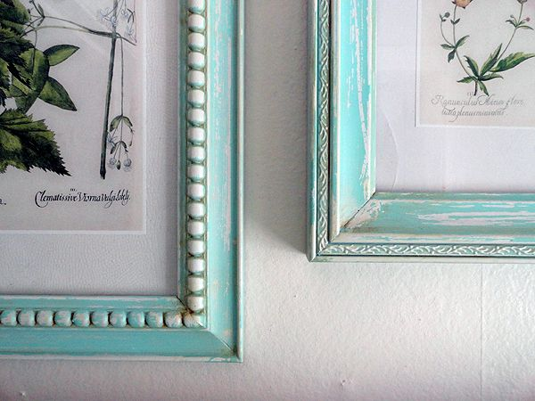 DIY: Vintage Frames. Take a few inexpensive Walmart frames, a little elbow grease, some paint, and voila!