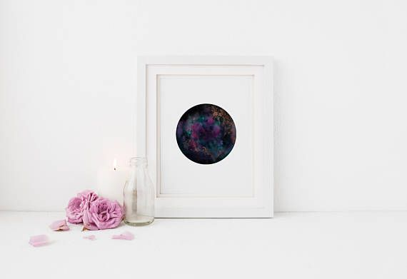 Magical Purple Teal and Gold Embellished Galaxy Print  Gift