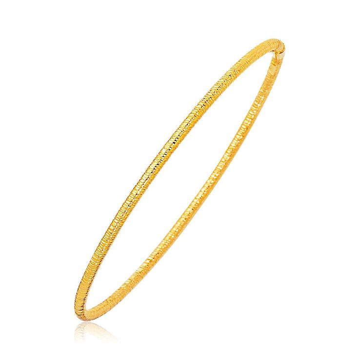 14K Yellow Gold Thin Textured Stackable Bangle