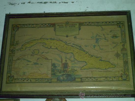 MAPA DE CUBA MUY GRANDE RUTA DE CRISTOBAL COLON 1637.