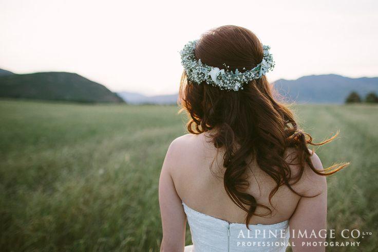 Wedding Hair, Bridal Hair, Floral Crown, Wedding Flowers, Wanaka Wedding, Pre-Wedding Shoot, Destination Wedding, Wanaka wedding photography by @alpineimageco, wedding planner - Boutique Weddings New Zealand