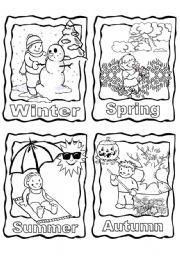 Four Seasons Coloring Page Printable