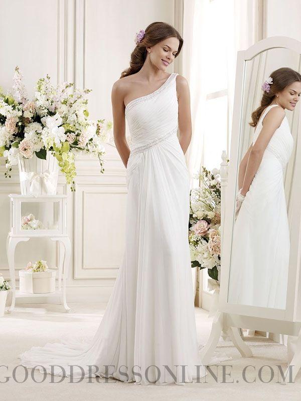 2014 Modest Sheath / Column One Shoulder Ruffles Chiffon Wedding Dresses