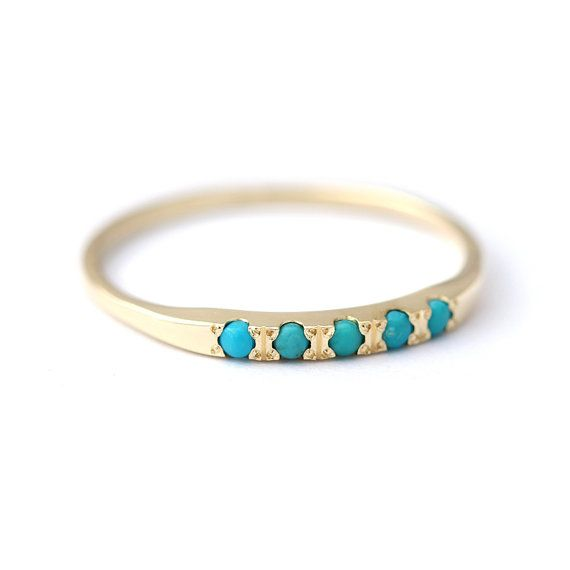 Pave Turquoise Wedding Ring  Thin Turquoise Ring  14K by artemer