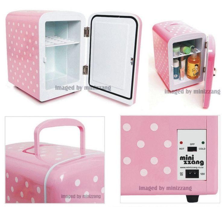 Portable Mini Fridge Heating Cabinet Cosmetic Cooler 4 Liter Pink Dots
