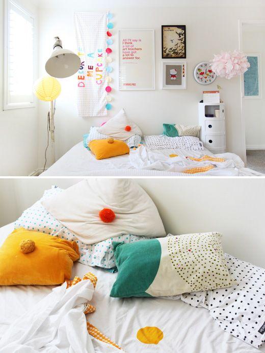 Sweet, eclectic kids roomPompom, Bedrooms Design, Kids Room, Kidsroom, Rachel Castles, Design File, Pom Pom, Bedrooms Decor, Pillows