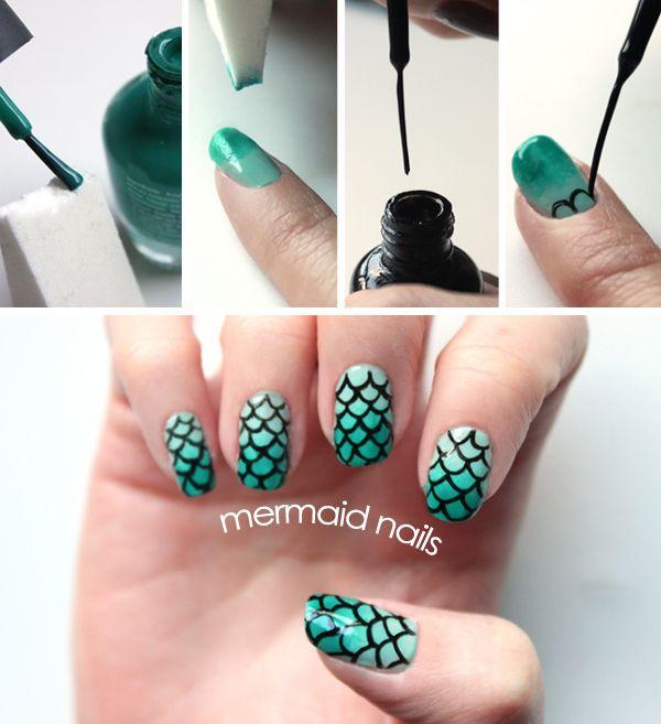 I MIGHT have enough ambidexterity to accomplish this at home for myself.  Syl and Sam: DIY mermaid nails