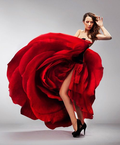 Red Rose Dress~ via http://www.shutterstock.com/pic-62187850/stock-photo-beautiful-young-lady-wearing-red-rose-dress.html