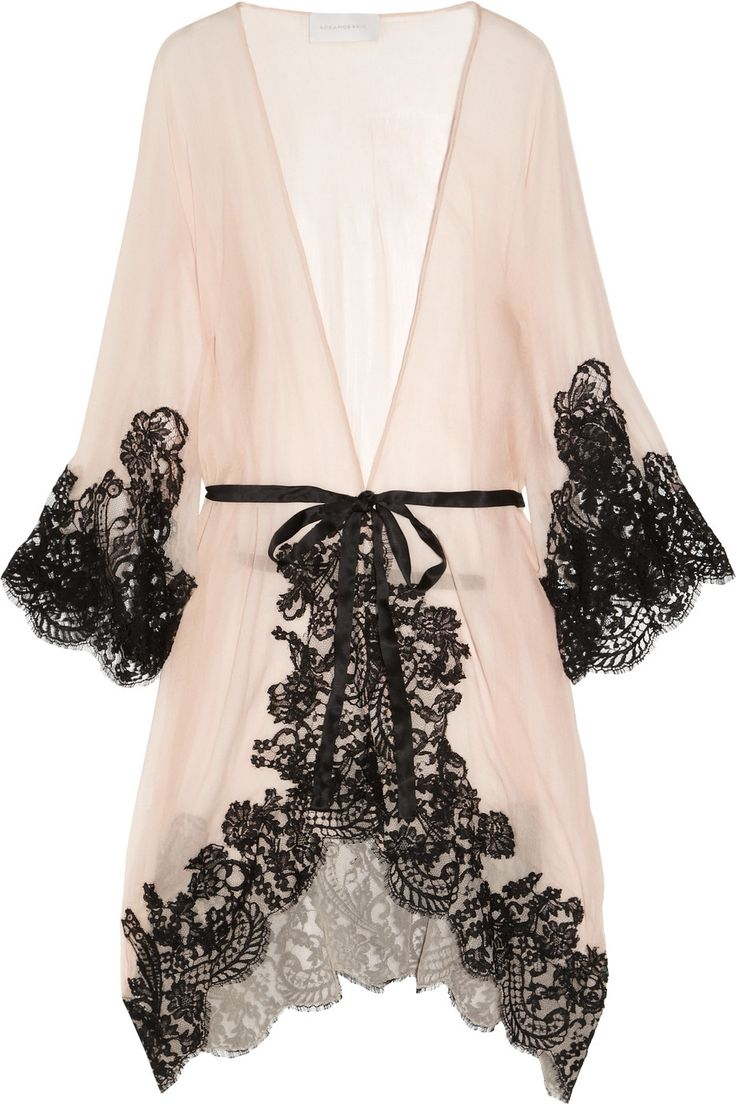 Rosamosario | Mezza Luna silk-crepe and lace robe | NET-A-PORTER.COM
