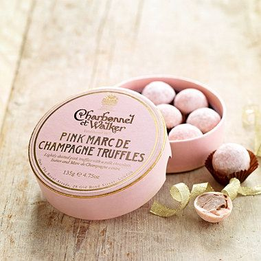 Famed for their excellence since 1875, Charbonnel et Walker have created these sumptuously decadent, handmade truffles, that really are the height of pure self-indulgence. Combines Marc de Champagne with the finest chocolate,