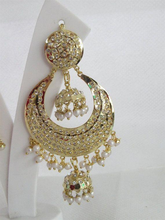 Gold Jadau Double Jhumki Jhumka Earrings with by Beauteshoppe