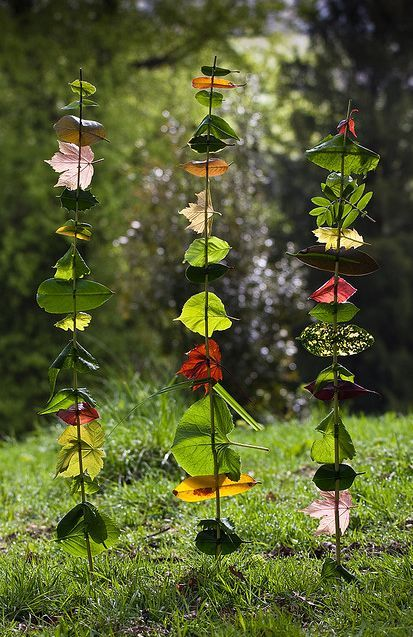 A weird outside activity the kids would like-seems kinda pointless to me but I bet they think it's fun. Leaf totems.