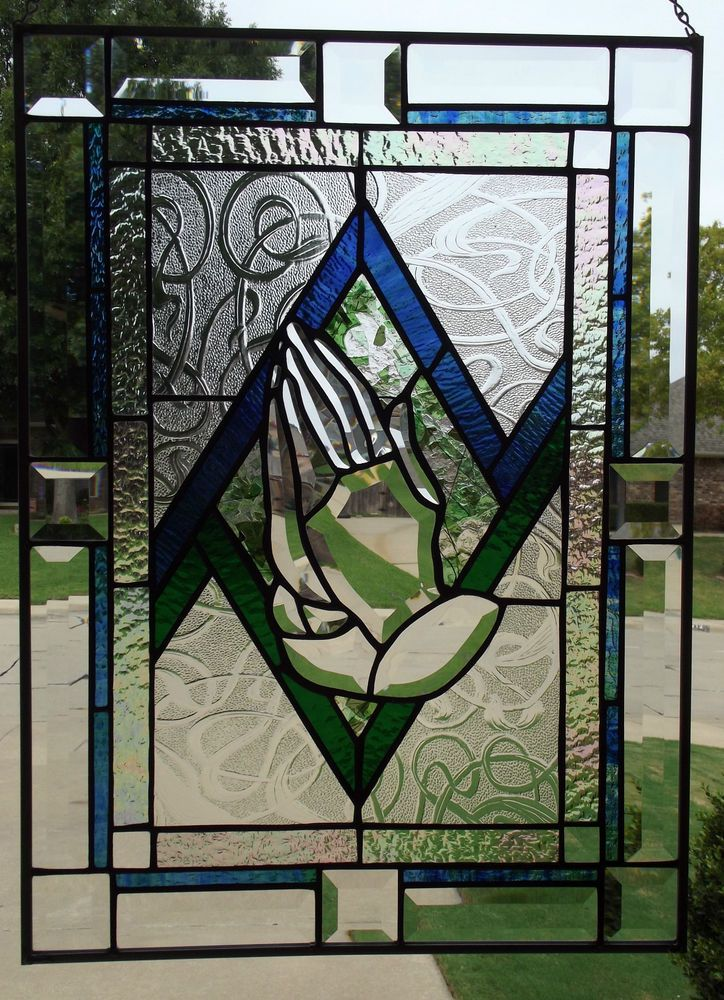 Beveled Stained Glass Window Panel Praying Hands