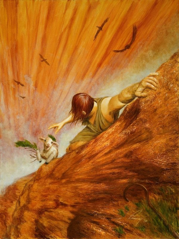 "Lost Sheep (Painting by Douglas Ramsey)  ""I am the good shepherd. The good shepherd lays down his life for the sheep.""   John10:11"