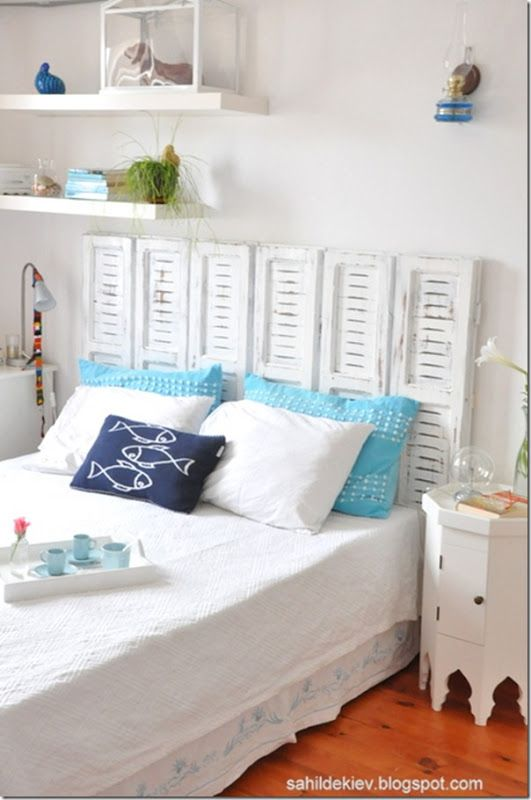 DIY beach decor ideas...I have old shutters that could be used for a headboard; just need the beach house to go with it.  :)