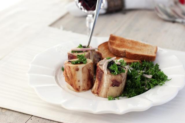Beef Marrow Bones with Parsley Salad