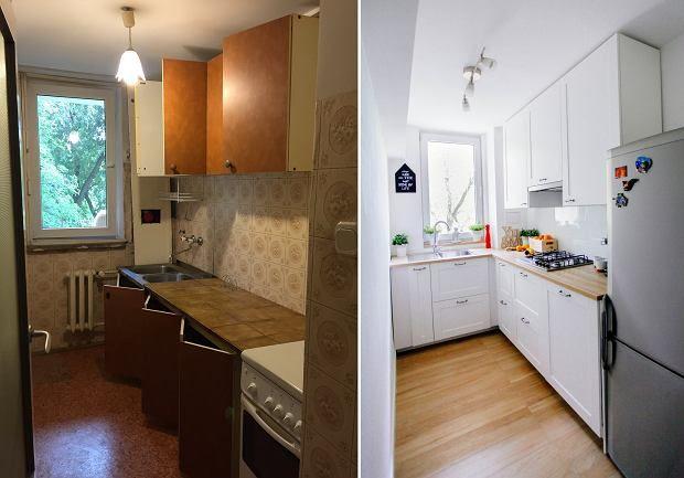 Mała kuchnia w bloku przed zmianą i po niej.
