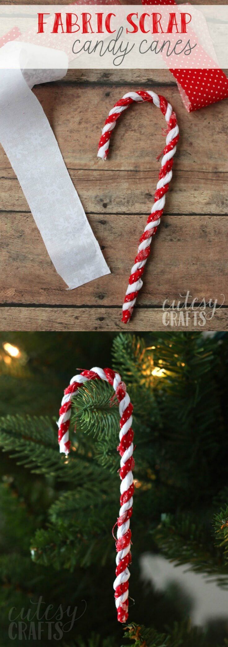 Make these candy cane ornaments out of fabric scraps! You can reuse these year after year. So perfect for your tree or decorating gifts. via @diy_candy