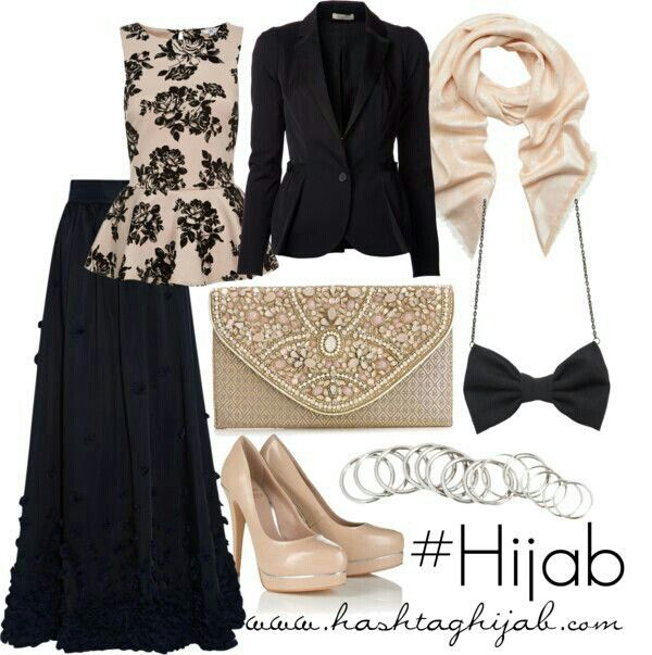 Black and Cream Hajab Outfit:: Black Long Maxi Skirt, Black Blazer and Beige  Pumps