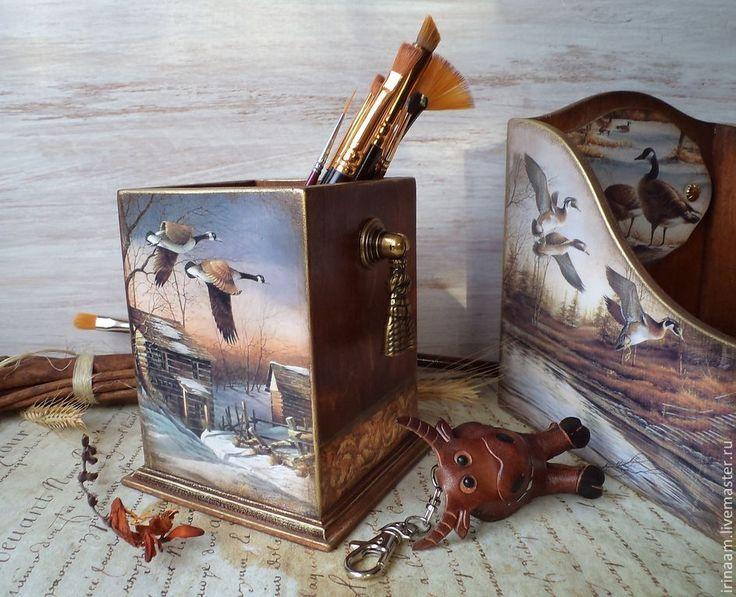 """"""" Утиная охота """" карандашница - коричневый,ореховый,карандашница,карандашница декупаж"""