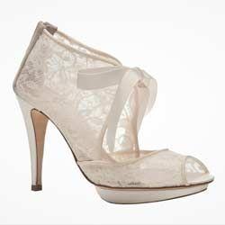 ivory vintage bridal shoes | Vintage Ivory Lace Wedding Shoes – Bridal Bootie Vs Peep Toe
