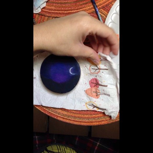 """Time lapse video featuring #4 of 8 Mini Boxes from the Mountains & Moonlight series for @juliemtodd ! Music: """"Daydreamer"""" by Lupe Fiasco. Watch full time lapse on YouTube! LINK IN BIO! #TimeLapse #Video #Artist #Art #Painter #Painting #moonlight #moon #moonshine #mountainsandmoonlight #star #NightSky #forthelove #fortheloveofart"""