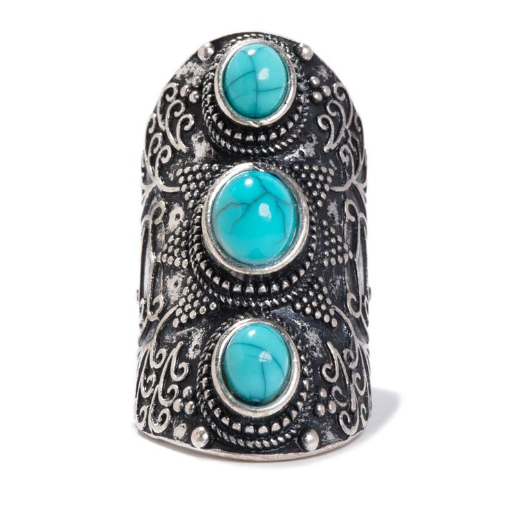 Pin to Win $500! Turquoise stones make this ring strikingly stunning. Enter here: https://www.facebook.com/justfab/app_137377669785610?ref=ts