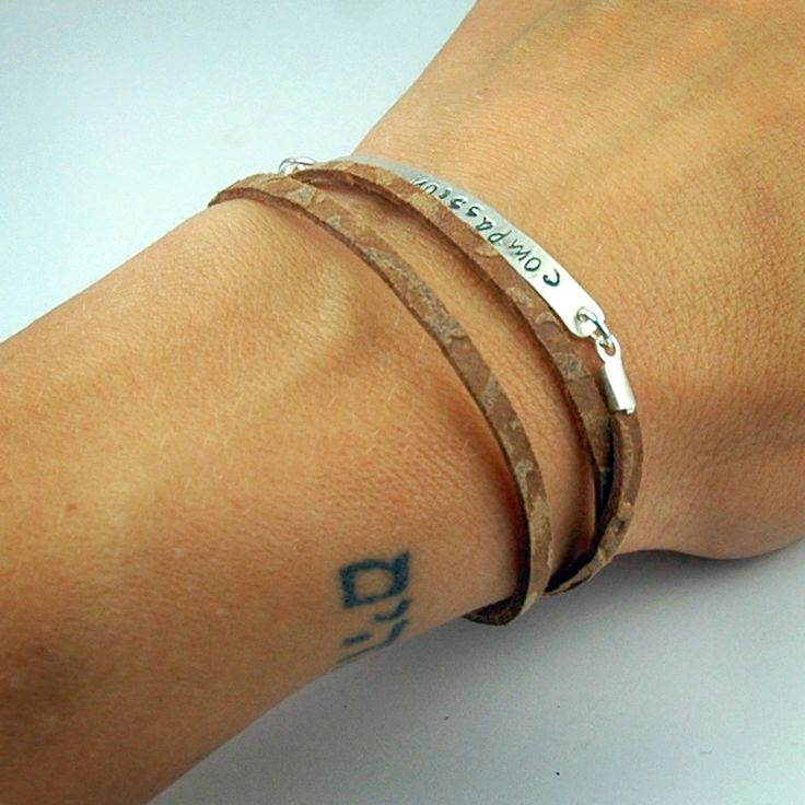 Leather Wrap Bracelet - Custom and Personalized - Hand Stamped bar - Recycled Sterling Silver - for Compassion International. via Etsy.: Hands Stamps, Leather Wrap Bracelets, Recycled Sterling, Silver Bracelets, Sterling Silver, Stamps Bar, Compass International, Leather Wraps Bracelets, Bar Bracelets