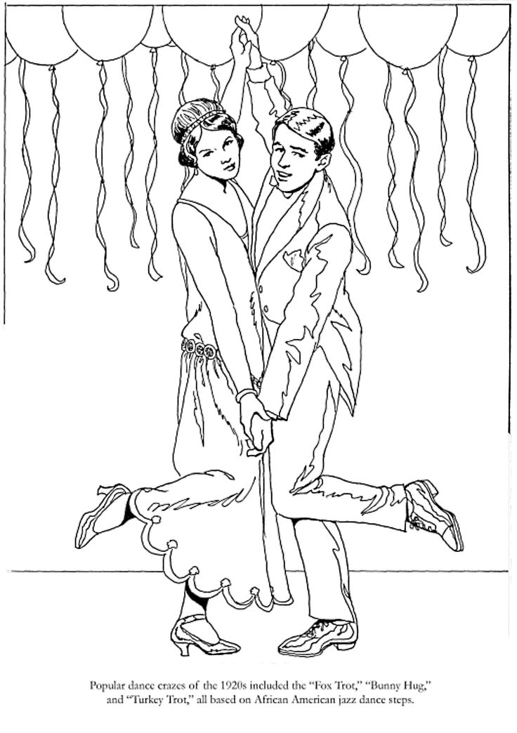 1920s Coloring Pages and Pictures and Roaring Twenties 1920s   Roaring 20s Colors