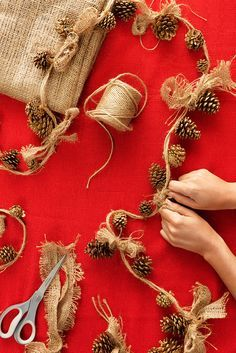 Christmas craft idea: Stringing pinecone ornaments with twine and burlap creates a rustic and beautiful holiday look. Click through to order your supplies online or get them at your nearest Home Depot store. is creative inspiration for us. Get more photo about related with by looking at photos gallery at …