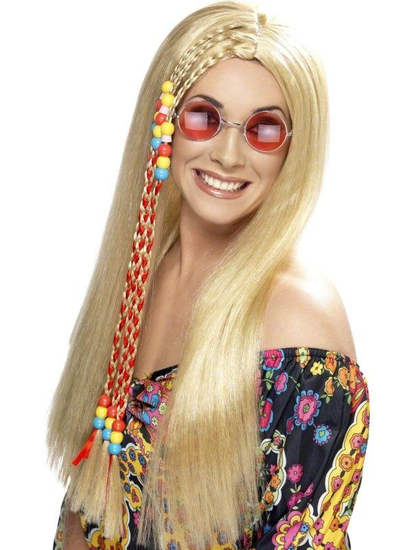 Peruka Hipiska blond z warkoczami