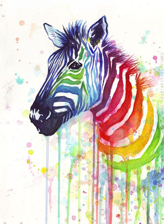 Watercolor Painting Art Print Rainbow Zebra Ode by OlechkaDesign