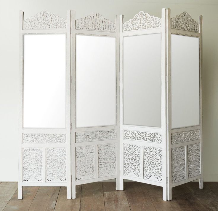 Floral Room Divider | Mirror White 4 Panel