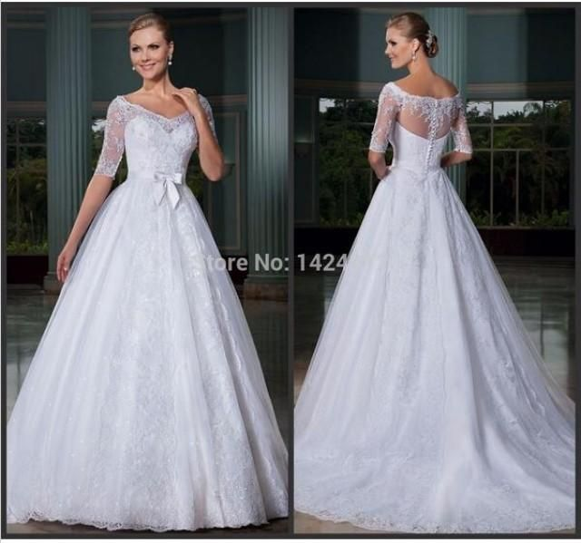 Elegant 2015 Wedding Dresses With Half Sleeve Illusion Sash Ball Gowns V-Neck Applique Sheer Neck Sequins A-Line Bridal Dresses Chapel Train Online with $126.39/Piece on Hjklp88's Store