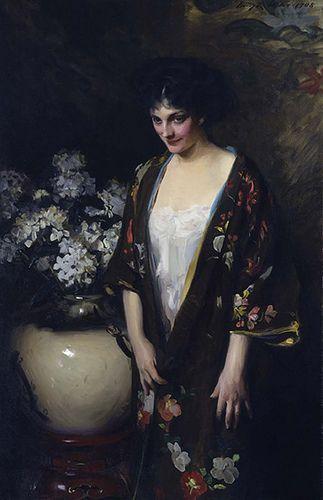 """Brown Kimono"" by Irving R. Wiles, 1908, oil on canvas.  (Portrait of Kathryn Beta la Forque)"