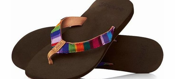 Reef Womens Reef Guatemalan Love Flip Flops - Multi Soft cotton strap with hand-woven textiles from Guatemala