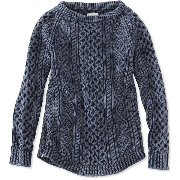 L.L.Bean Signature Signature Cotton Fisherman Tunic Sweater, Washed (2,230 MXN) ❤ liked on Polyvore featuring tops, sweaters, fitted tops, zip sweater, chunky cable knit sweater, cotton sweaters and blue cable knit sweater