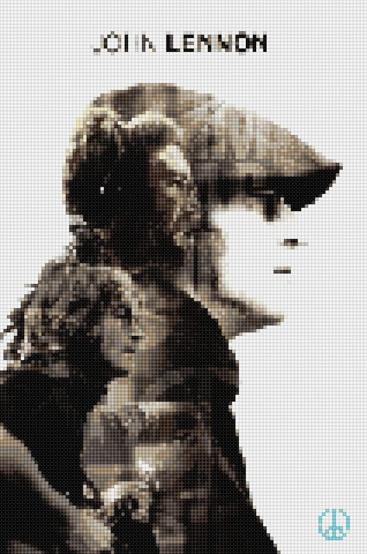 i thought i would try doing beautiful John Winston Lennon in cross-stitch done by my cross-stitch app on my phone. beautiful John Winston Lennon you came out wonderfully.