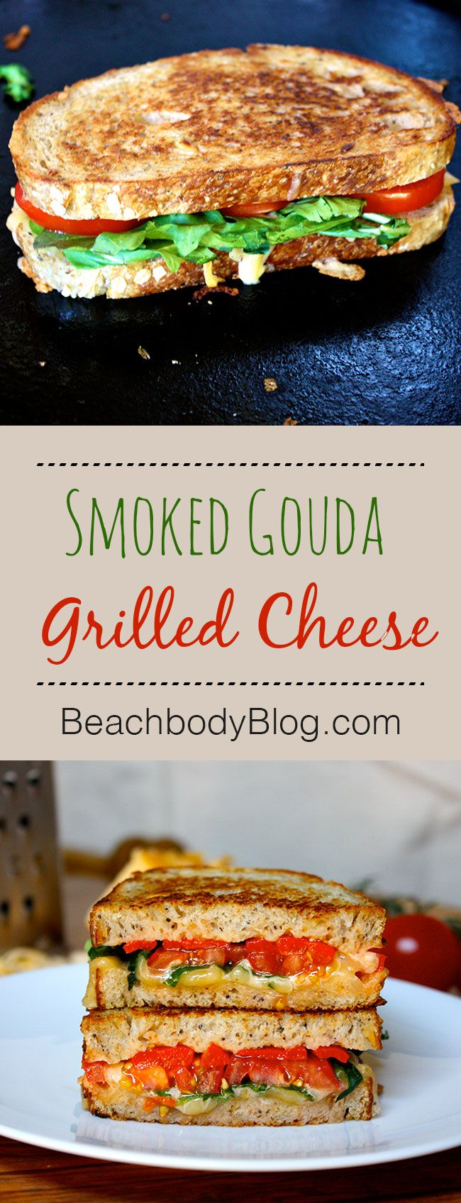 There is something so comforting about a grilled cheese sandwich. Crunchy on the outside, gooey on the inside with delicious melted cheese. Our yummy version uses smoked gouda, a boldly flavored cheese, so you can use less and still love !  Team Beachbody www.beachbodycoach.com/ELLECRAIB
