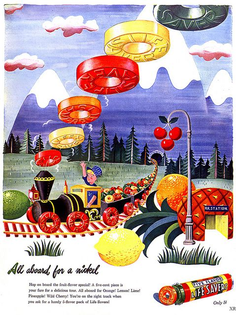 CANDY~All aboard the lifesavers Express! vintage 1940s  candy ads