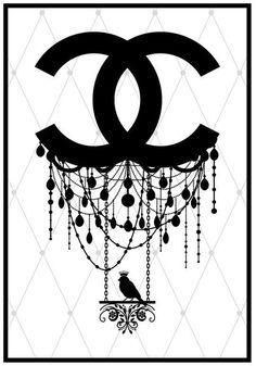 Imagens para quadrinhos - poster para imprimir - logotipo- chanel -preto e branco -Blog Dikas e diy
