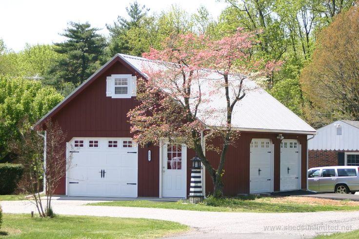 Detached garages plans red vinyl 10579 20x40 attic three for 3 car detached garage with loft